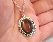 SALE - Beautiful Ornate Silver Tone Necklace With Vintage Amethyst Glass Cabochon
