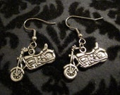 Silver Tone Motorcycle Earrings