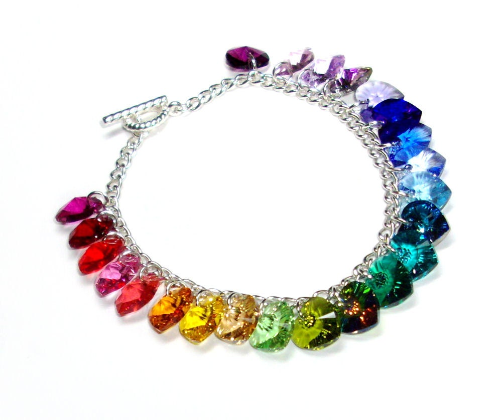 swarovski rainbow heart charm bracelet. Black Bedroom Furniture Sets. Home Design Ideas