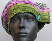 Lovely Olive Green Pinks Soft Mauve & Ocre Floppy Crochet Hat with a Chopstick...