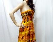 Smocked Strapless Dress /Halter dress/ Short Skirt in Boho Chic Style (Yellow)