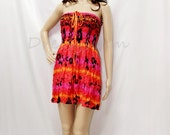 Smocked Strapless Dress /Halter dress/ Short Skirt in Boho Chic Style (Pink)