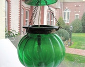 Vintage Hanging Lamp/Light with Handblown Green Glass Globe and Hat