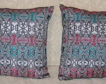 Silk Pillows, Cushions from Antique Silk Brocade Pallav, 12x11inches, Pair