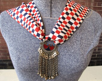 Silk Scarf Necklace with Vintage Tribal Earring from Afghanistan