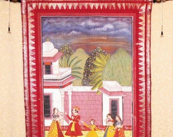 Silk Painting of Indian Courtyard Scene Wall Tapestry, Wall Hanging by the Old Silk Route