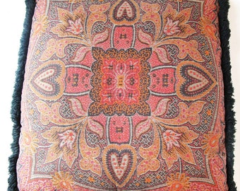 """Paisley Pillow, Cushion from Antique Paisley Textile by the Old Silk Route- 22""""insq"""