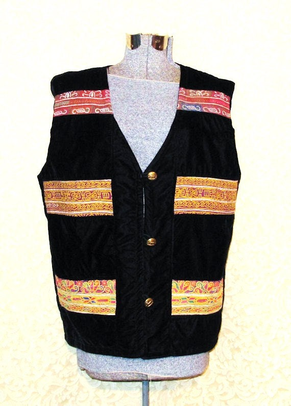 Black Velvet Vest from Afghanistan with Pashtun Hand Embroidery Patches1