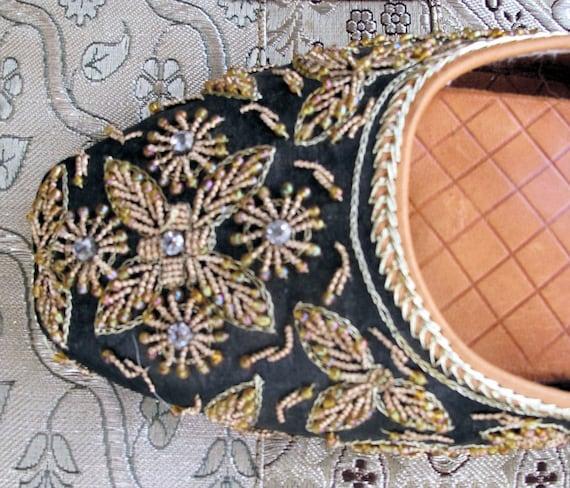 Vintage Fancy Beaded Slipper Shoes-Size 10
