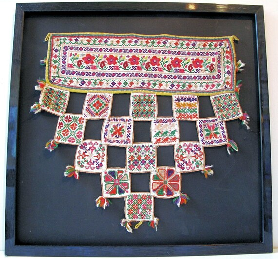 Vintage Framed Cross Stitched Indian Textile Wall Hanging