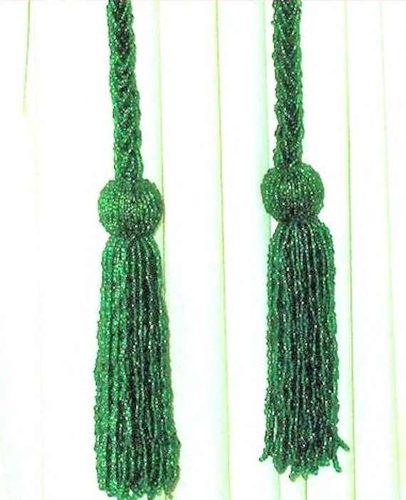 glass beaded curtain tie backs with tassels pair by