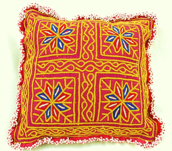 Tribal Pillow ,Cushion: Recycled Pashtun Hand Embroidery Textile from Afghanistan4