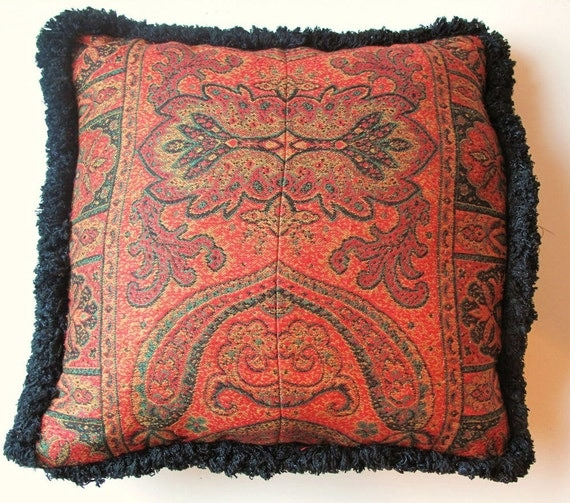 Paisley Pillow,Cushion, Recycled Textile by the Old Silk Route, 16x15inches