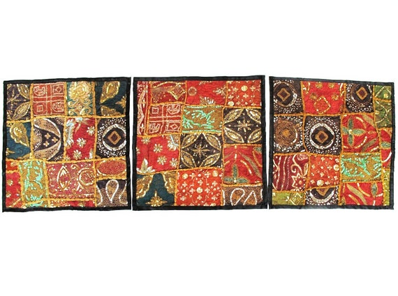 Vintage Saree/Sari Patchwork Wall Tapestries,Wall Hangings, Cushion/Pillow Covers,Table Runners, Place Mats, and even Wine Carriers-Set of 3