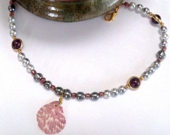 Ankle Bracelet -  silver pearls and seashells
