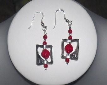 Red Earrings - Coral Earrings
