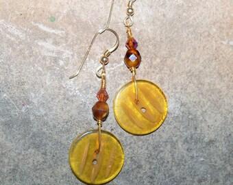 Handmade Button Earrings- Golden Vintage Buttons