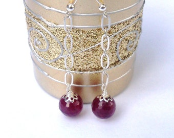 Ruby Red Dangle Earrings -  Sterling Silver Chain