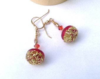 Handmade Red Earrings - Vintage Button earrings - Red and Gold earrings