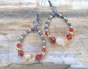 Indian red beaded hoop earrings - Mixed metal - Citrine gemstone earrings