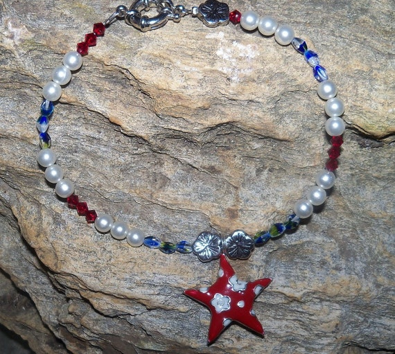 Red, white and blue anklet - Patriotic Ankle Bracelet