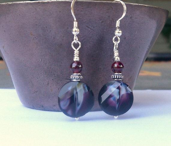 Garnet Earrings - Garnet and Crystal earrings