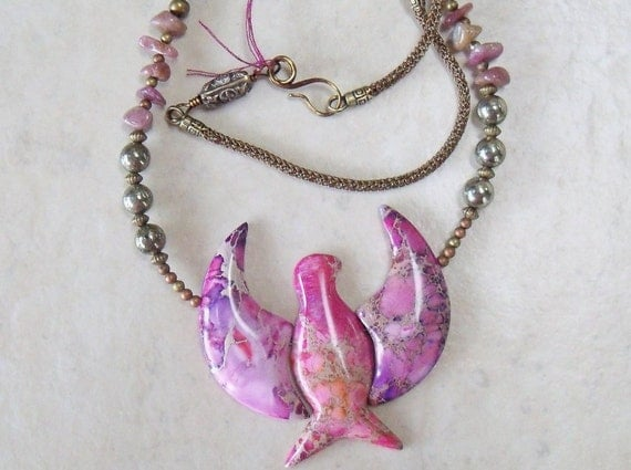 Stone Eagle Necklace - Pink Stone - Sea Sediment Jasper