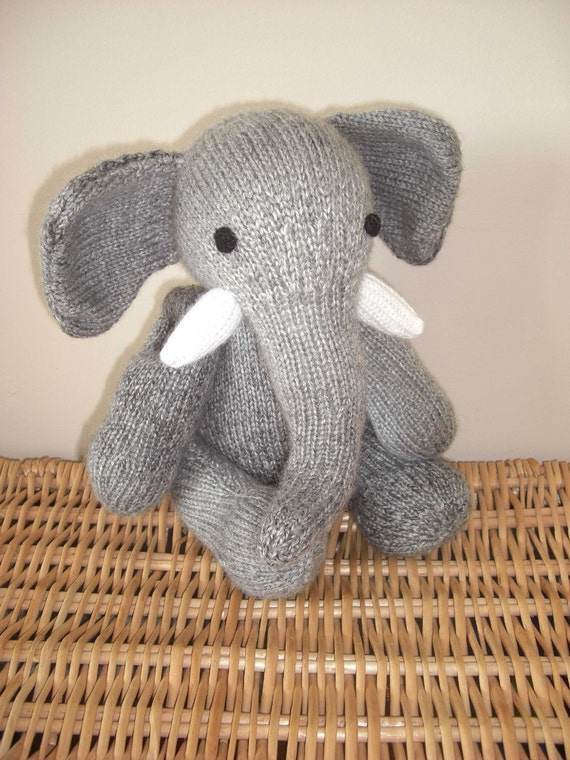 Malcolm the hand knitted jointed elephant, light grey with a super long bendy trunk. Heirloom quality MADE TO ORDER