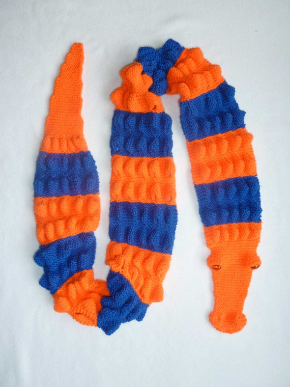 Florida Gator Scarf in Gator orange and Gator blue - MADE TO ORDER, hand knitted by scunjeebabe