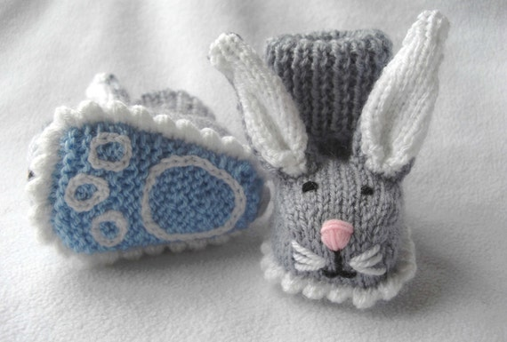 Boppity Bunny Rabbit Booties with Embroidered Soles -  Made to order, hand knitted by scunjeebabe