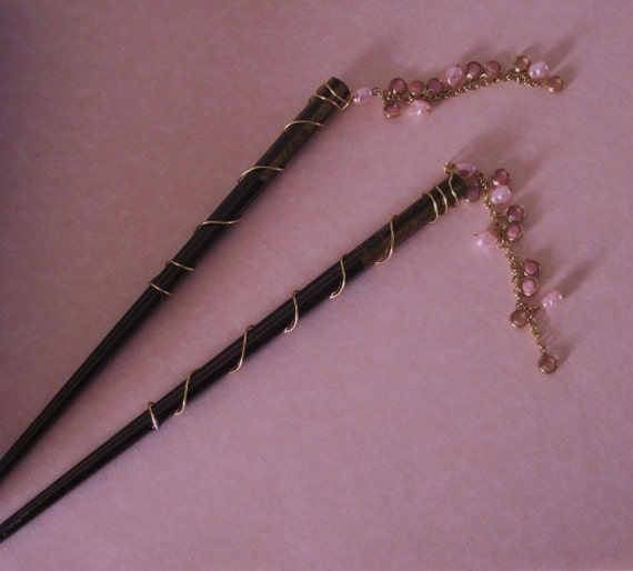 Lacquer Chopstick Hairstick Pretty in Pink Pearl Dangles