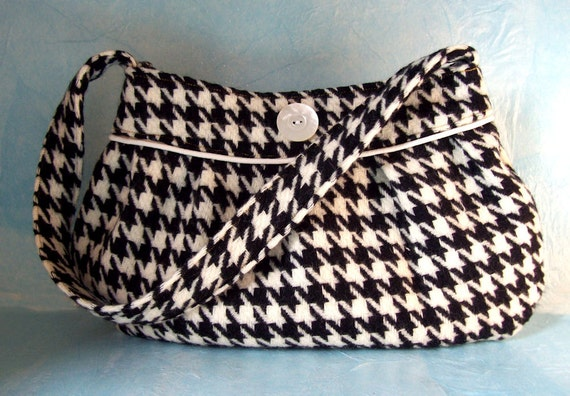 Buttercup Bag, Pleated purse, handbag, black and white houndstooth, wool