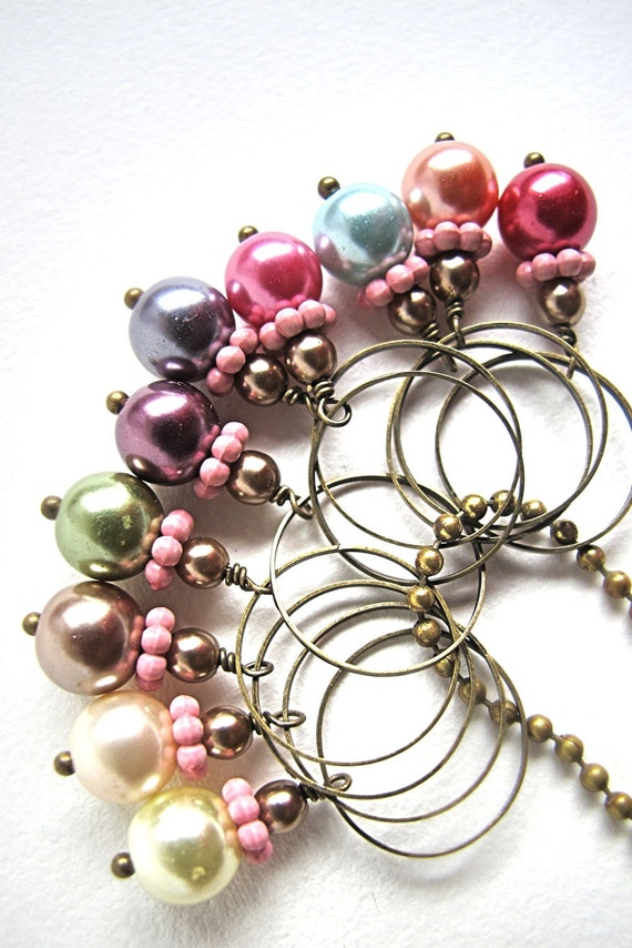 tender pearl knitting stitch markers - 10 pieces
