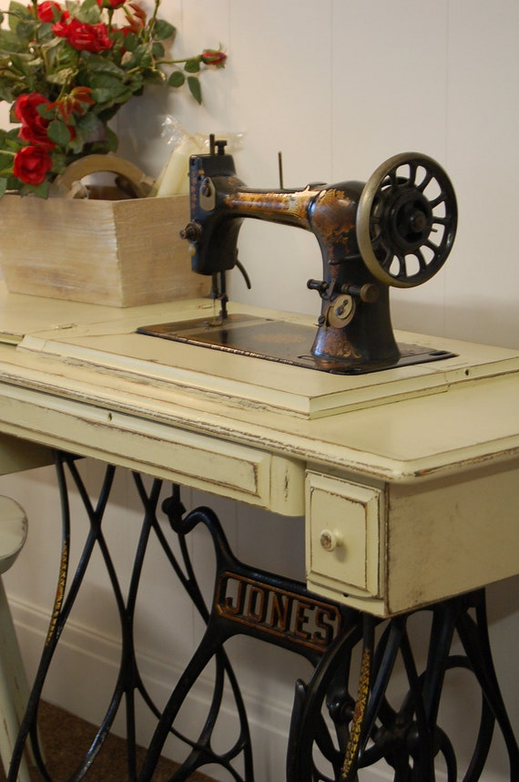 Items similar to Antique Jones Treadle Sewing Machine on Etsy