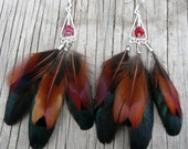 5 inch Pheasant and Rooster Feather Earrings