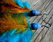 Moody Mushroom Turqouise Feather Earrings, hand dyed, cruelty-free