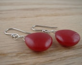 Red Jade Drop Earrings with sterling silver