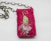 Embroidered Flower Pendant Raspberry Pink Felt
