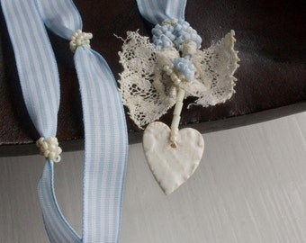 Old New Borrowed Blue Bride Pendant, lace and heart, heart pendant