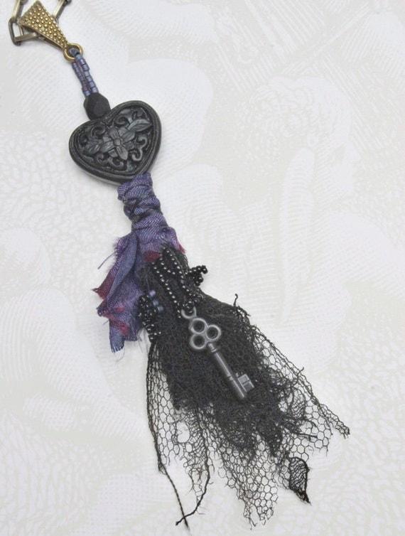Black Heart - Memory Wrap Pendant