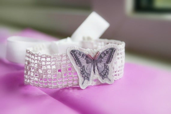 1930 lace wrist wrap with butterfly