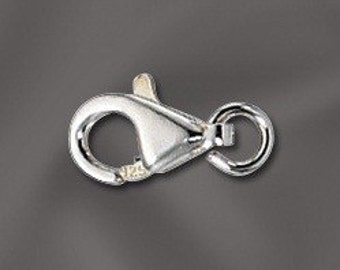 9 mm .925 sterling silver lobster claw trigger clasps w/open jump ring (Q5-BH)