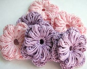 Crochet Flower Appliques - Two Layer Pink & Purple - 6