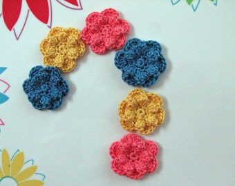 Small Crochet Flowers - Coral Pink, Blue & Yellow - 6