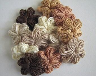 Crochet Thread Flowers - Small - Neutral Brown -12