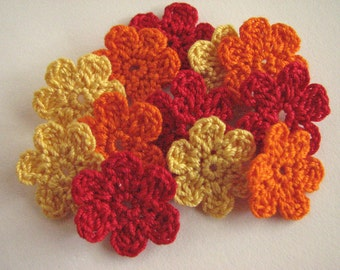 Thread Crochet Flowers - Bright, Small Red, Orange & Yellow - 12