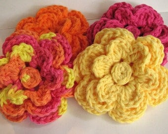Large Crochet Flowers, Yellow, Orange & Hot Pink
