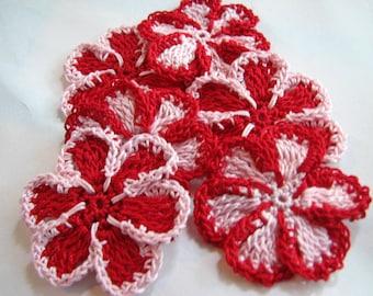 Crochet Flowers - 6  Pink & Red
