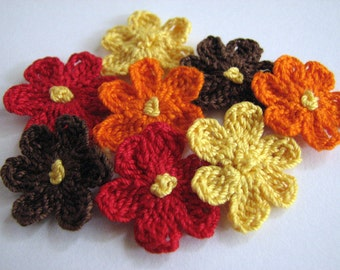 Crochet Flowers - 8 Handmade, Small Flowers in Fall Colors