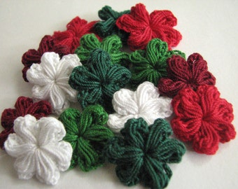 Small Crochet Flowers - Christmas Colors - Puffy Style - 15
